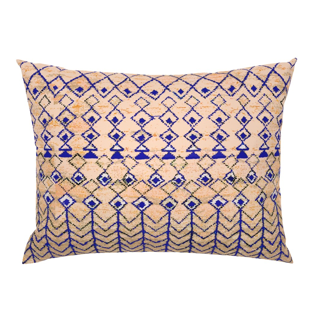 Campine Pillow Sham featuring Marrakesh Peach and Blue by vagabond_folk_art