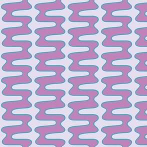 Groovy 70s double swirl purple lilac teal