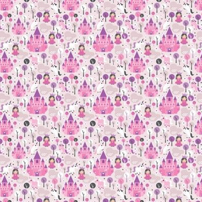 Princess unicorn and fairy land castle magical print for girls XS