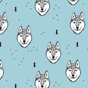 Husky love cool snow puppy pattern for dog lovers winter geometric wolf soft ice blue baby