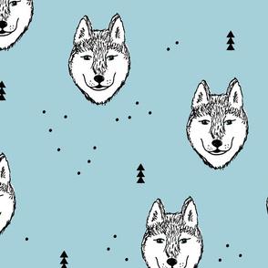 Husky love cool snow puppy pattern for dog lovers winter geometric soft ice blue baby jumbo