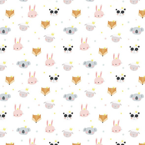Cute animals bunny, sheep, panda, fox, koala
