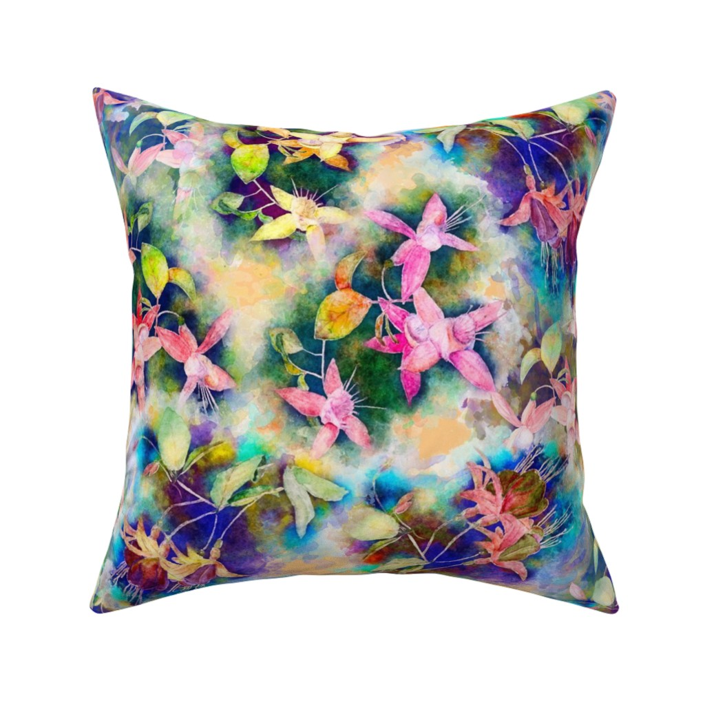 Catalan Throw Pillow featuring FUCHSIA FLOWERS GARDEN WATERCOLOR SCATTERED PALE CORAL ORANGE by paysmage