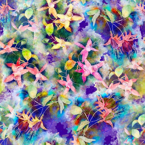 FUCHSIA FLOWERS GARDEN WATERCOLOR SCATTERED MIX PURPLE VIOLET