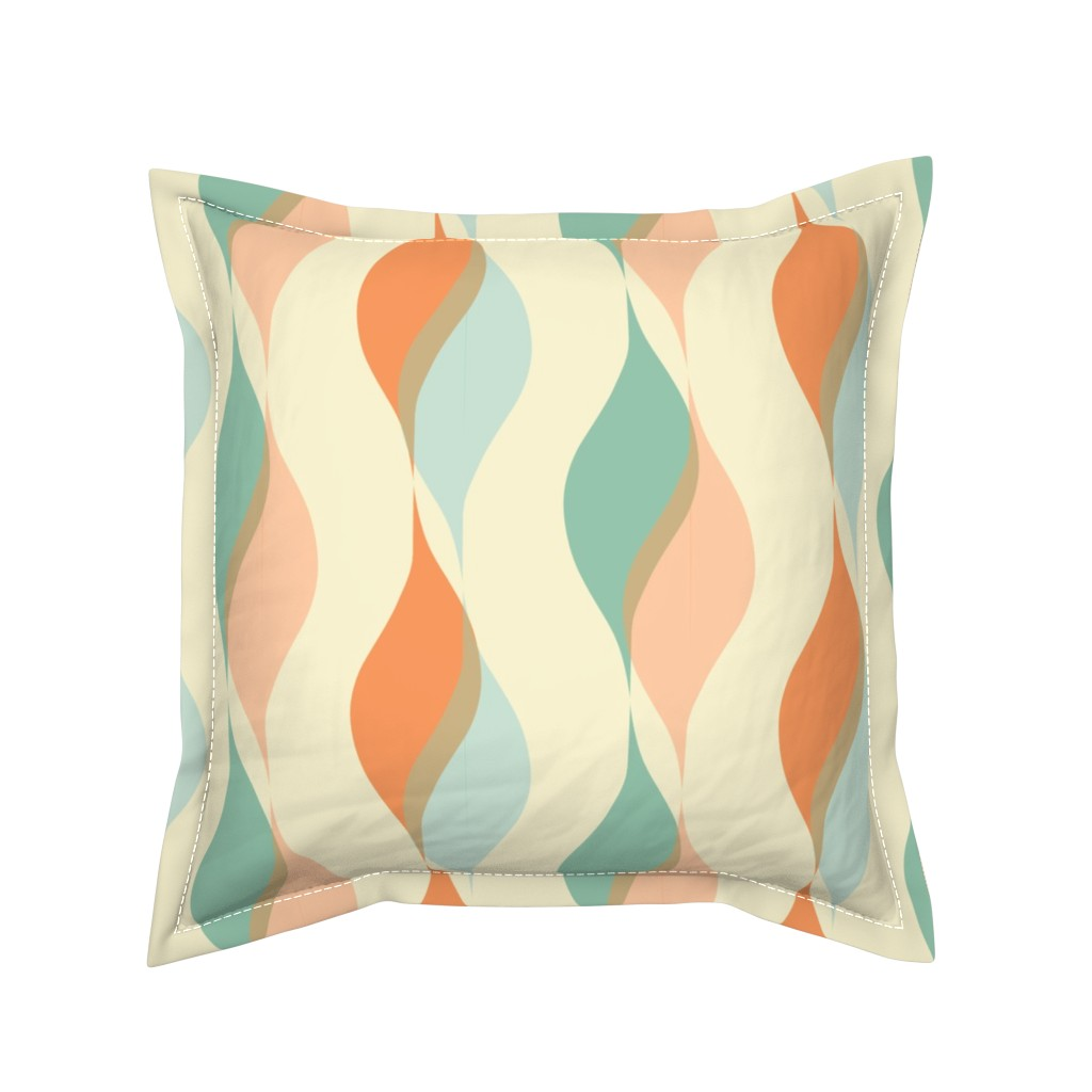 Serama Throw Pillow featuring Moroccan Wavy Shapes, Soft Desert Colors, Floating Ribbons by galleryinthegardendesigns