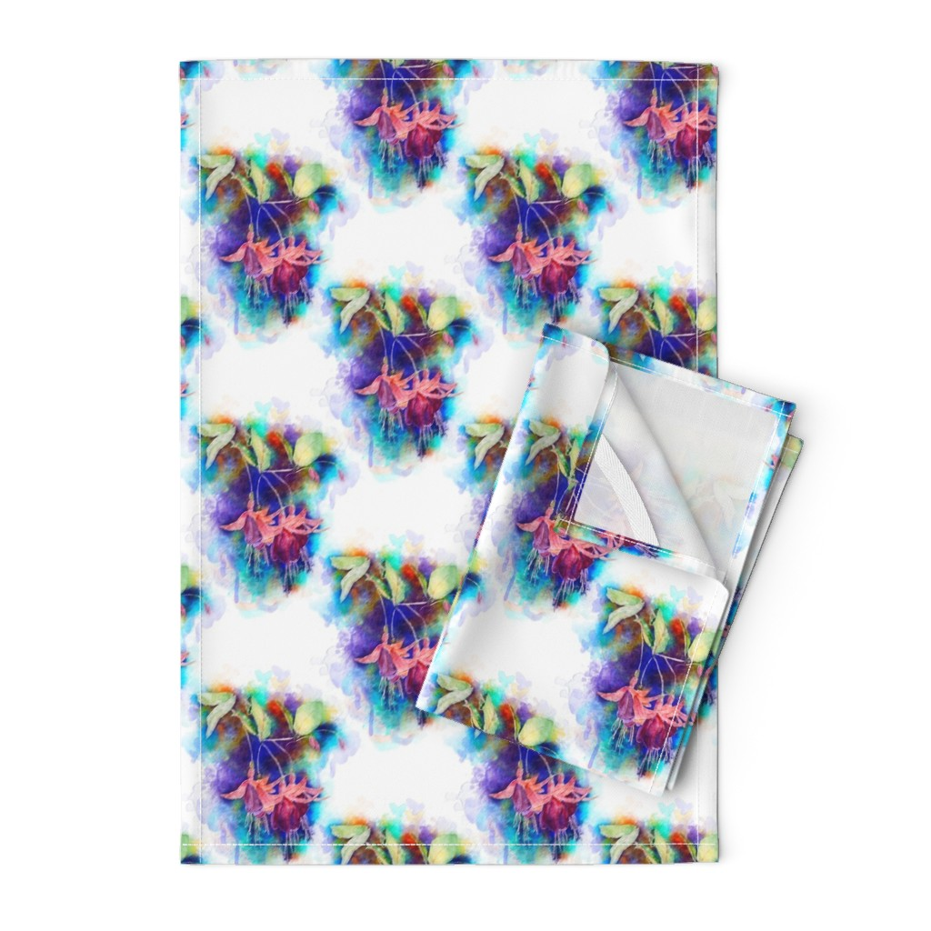 Orpington Tea Towels featuring WATERCOLOR FUCHSIA FLOWERS 1 ON WHITE by PAYSMAGE by paysmage