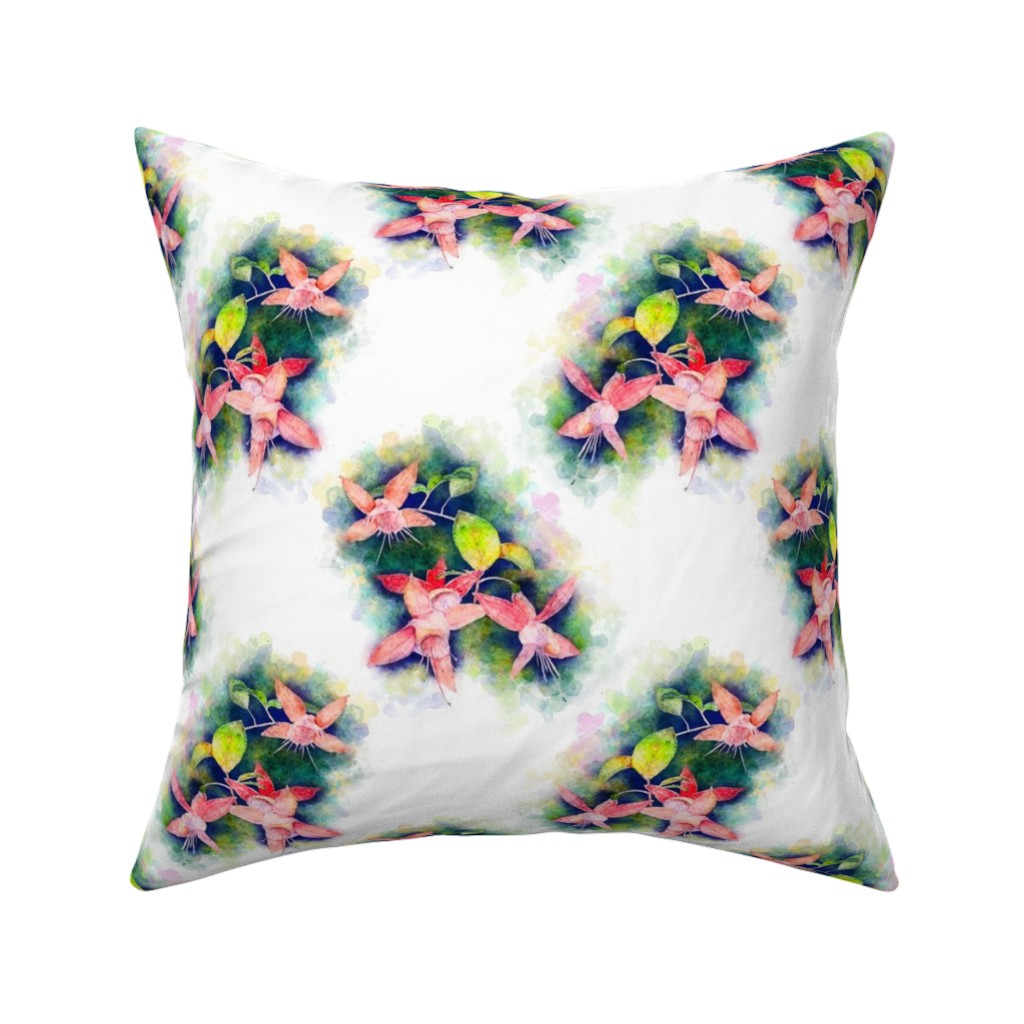 Catalan Throw Pillow featuring WATERCOLOR painted FUCHSIA FLOWERS 2 ON WHITE by paysmage