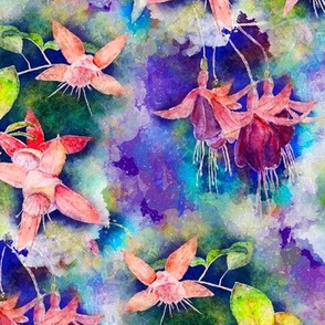 FUCHSIA FLOWERS GARDEN WATERCOLOR ALTERNATE PURPLE VIOLET