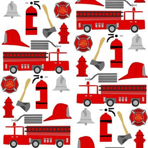 fireman career firetruck kids boys nursery fabric white