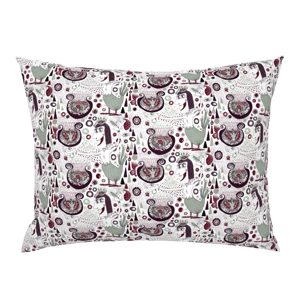 Campine Pillow Sham featuring the bird lady cometh, large scale, white green red brown maroon burgundy by amy_g