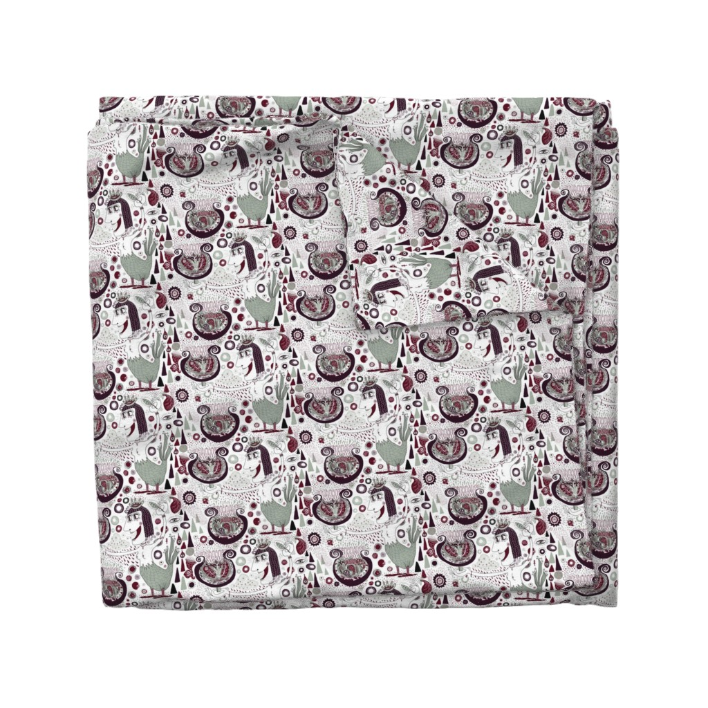 Wyandotte Duvet Cover featuring the bird lady cometh, large scale, white green red brown maroon burgundy by amy_g