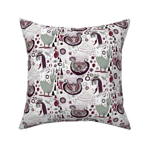 Ikat Parrot Plum Purple Throw Pillow Cover w Optional Insert by Roostery