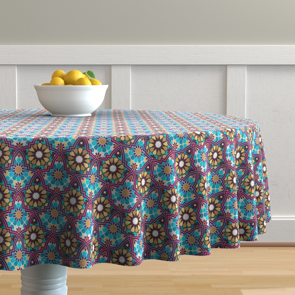 Malay Round Tablecloth featuring gerih by minyanna