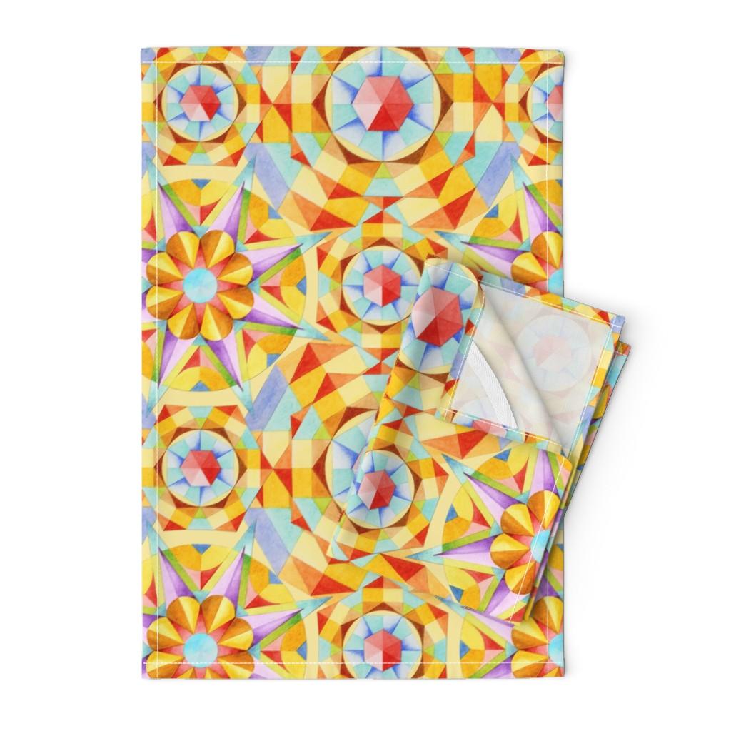 Orpington Tea Towels featuring Marrakesh Moderne by patriciasheadesigns