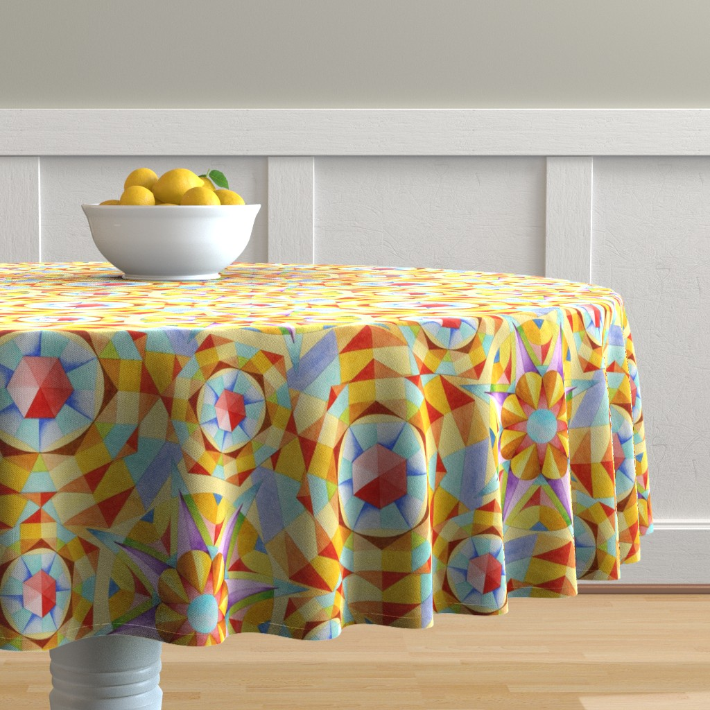 Malay Round Tablecloth featuring Marrakesh Moderne by patriciasheadesigns