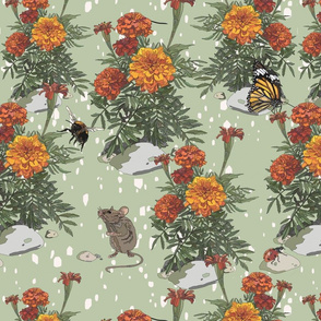Mouse in the Marigolds