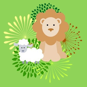 Lion with lamb baby print