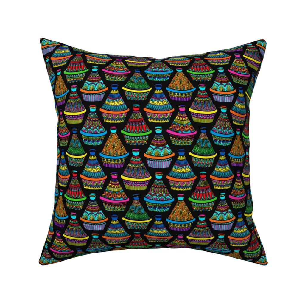 Catalan Throw Pillow featuring Pattern #82 - Moroccan tagines at the souk   by irenesilvino