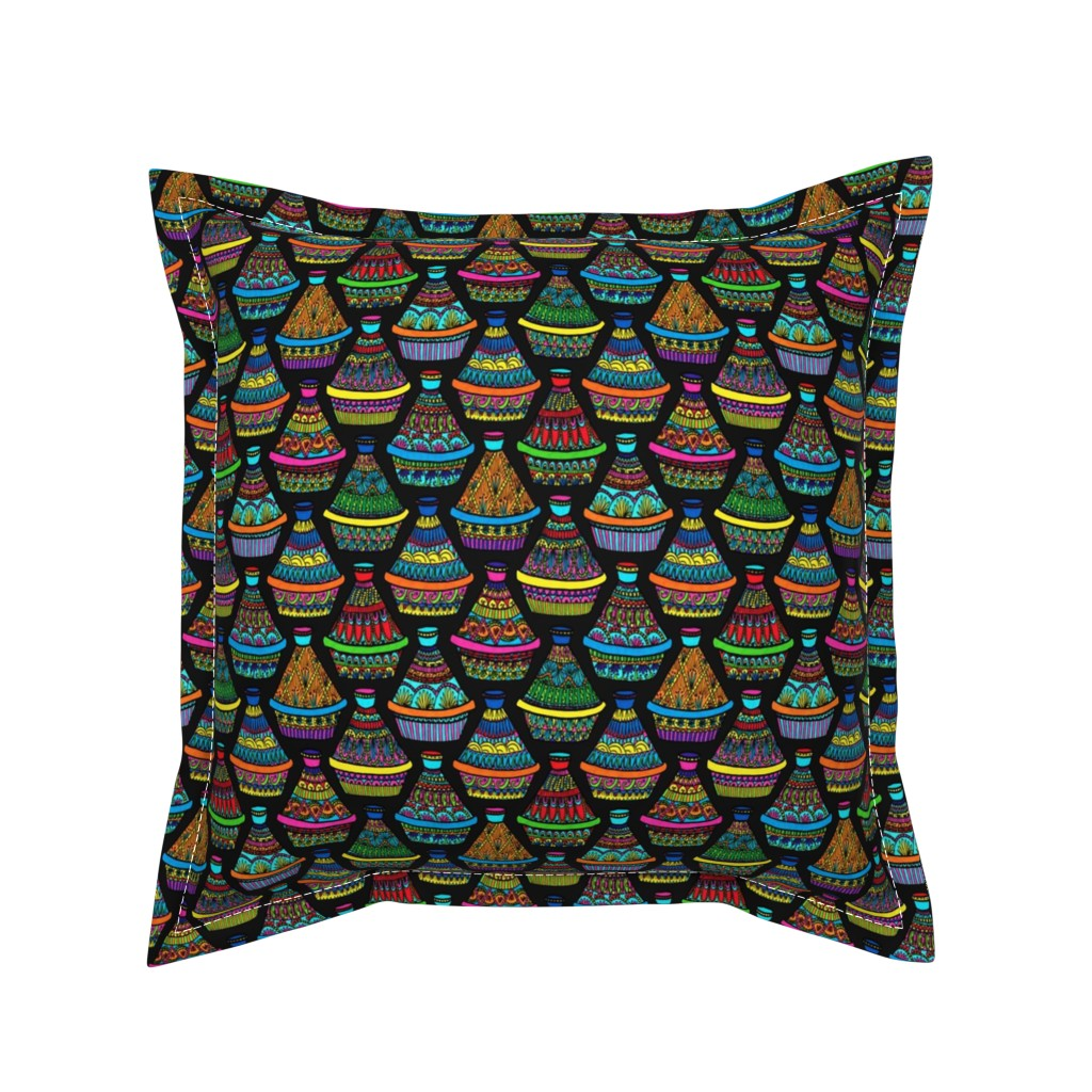 Serama Throw Pillow featuring Pattern #82 - Moroccan tagines at the souk   by irenesilvino