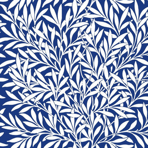 Willow ~ Willow Ware Blue and White Reverse ~ William Morris