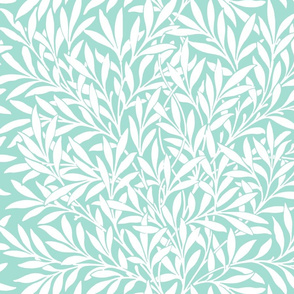 Willow ~ White on Mint ~ William Morris