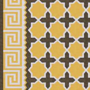 Dhurrie: Yellow, Brown, Gray