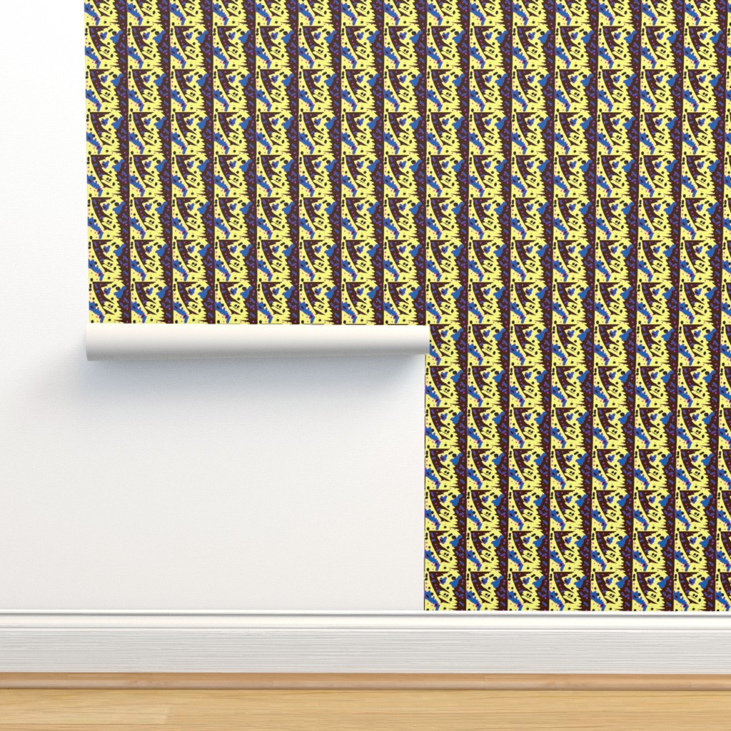 Isobar Durable Wallpaper featuring Asabuhi 1a in Blue Yellow Black & Pink by tabasamu_design