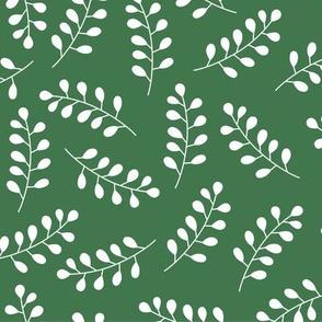 White laurel branches on dark green