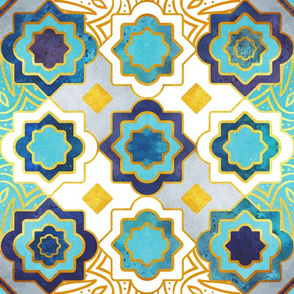 Marrakesh gold and blue geometry inspiration