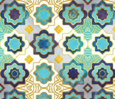 Normal scale // Marrakesh gold and blue geometry inspiration