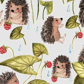 Hedgehogs in raindrops -BIGGER SCALE