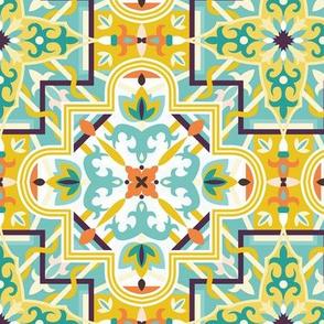 Marrakech Mosaic - Orange/teal