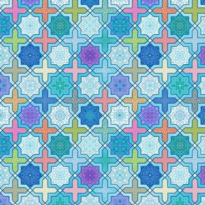 colorful Marrakesh tiles with fancy mandala patternsh
