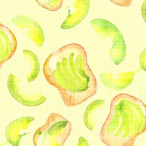 16-13A Avocado Toast Watercolor Green White Lime Breakfast Food Large _ Miss Chiff Designs