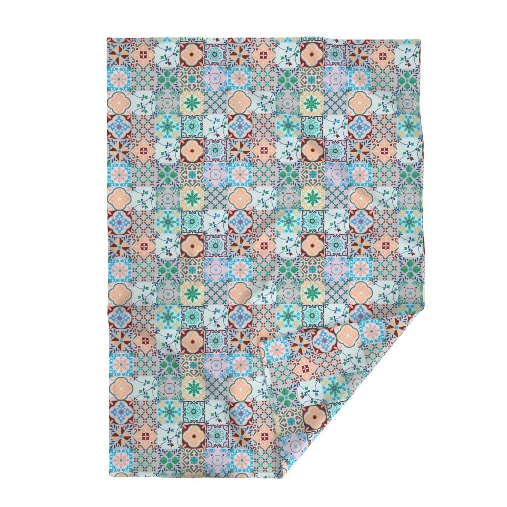 Lakenvelder Throw Blanket featuring spanish tiles blue by potyautas