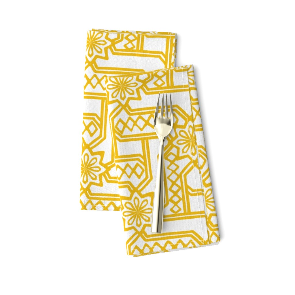 Amarela Dinner Napkins featuring Marrakesh Maze -Bright Yellow, Chalk by fernlesliestudio