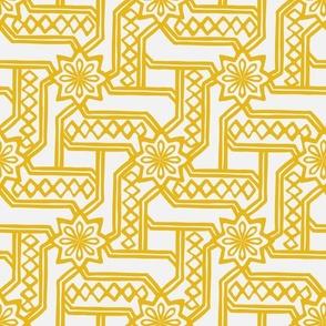 Marrakesh Maze -Bright Yellow, Chalk