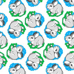 1950's Style Bunny Rabbit in Blue and Green