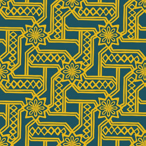 Marrakesh Maze  -Bright Yellow, Navy
