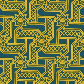 Marrakesh Maze  -Bright Yellow, Navy