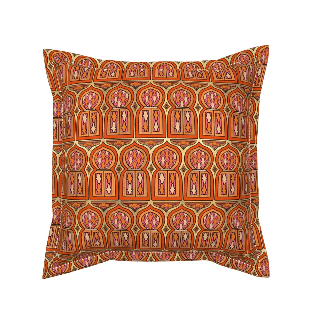 Serama Throw Pillow featuring Marrakesh Windows by thewellingtonboot