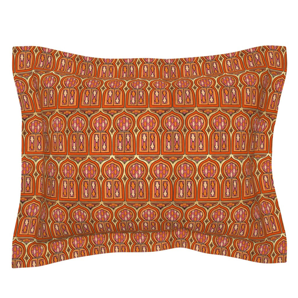 Sebright Pillow Sham featuring Marrakesh Windows by thewellingtonboot