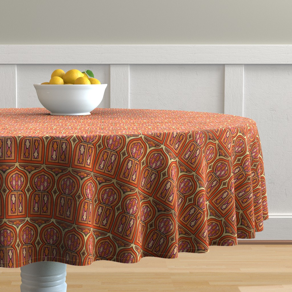 Malay Round Tablecloth featuring Marrakesh Windows by thewellingtonboot