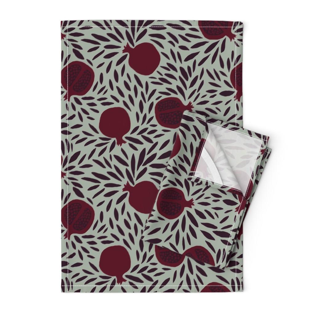 Orpington Tea Towels featuring POMEGRANATES by nadinewestcott