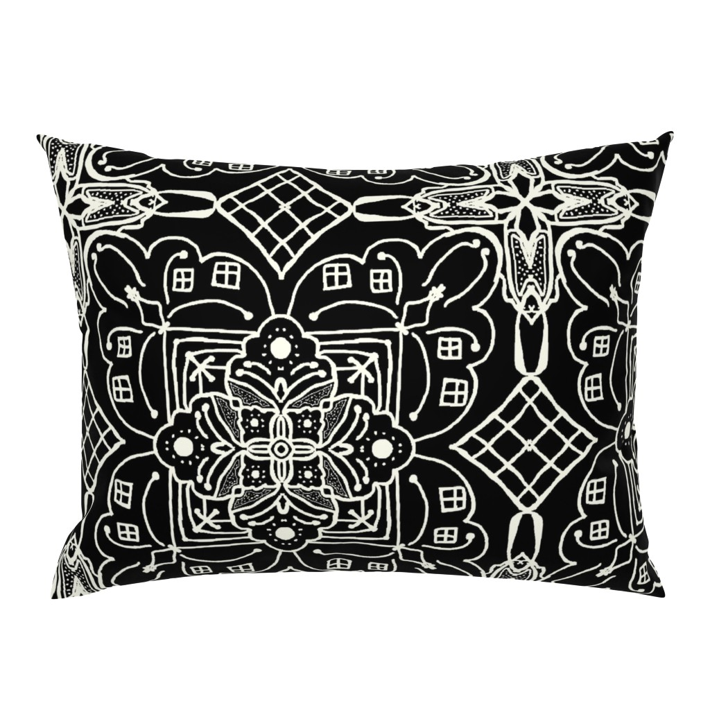 Campine Pillow Sham featuring Marrakesh Pottery Tile, Black and Bone, XL by palifino