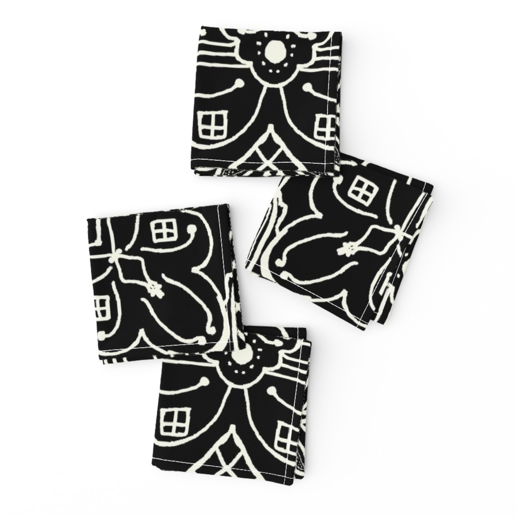Frizzle Cocktail Napkins featuring Marrakesh Pottery Tile, Black and Bone, XL by palifino