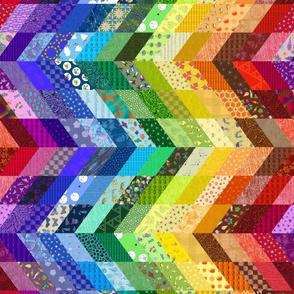 sideways rainbow chevron cheater quilt