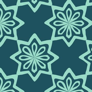 Moroccan Tile - Mint, Navy