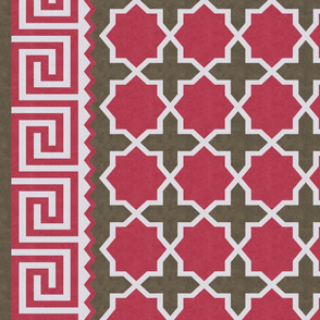 Dhurrie: Red, Brown, Gray