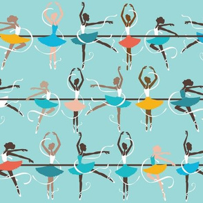 ballerinas on turquoise